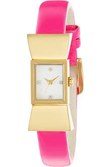 KATE SPADE Carlyle gold-plated metal and leather watch