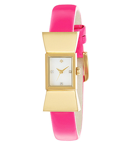 KATE SPADE Carlyle gold-plated metal and leather watch (Pink