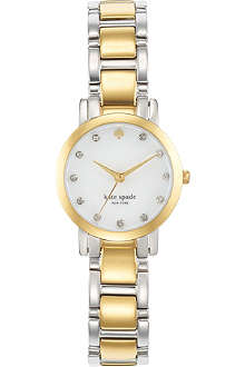KATE SPADE Gramercy mini stainless steel and gold-plated metal watch