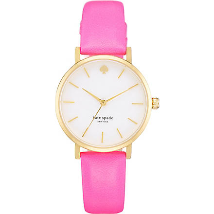 KATE SPADE Metro gold-plated metal and leather watch (Pink