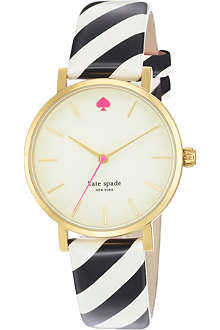 KATE SPADE Metro gold-plated metal and leather watch