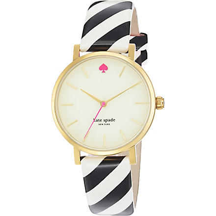 KATE SPADE Metro gold-plated metal and leather watch (Mixed