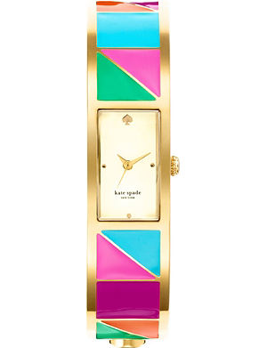KATE SPADE Carousel gold-plated metal and enamel watch