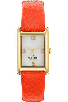KATE SPADE Cooper gold-plated metal and leather watch