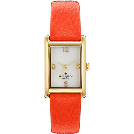 KATE SPADE 1YRU0189 Cooper gold-plated metal and leather watch (Orange