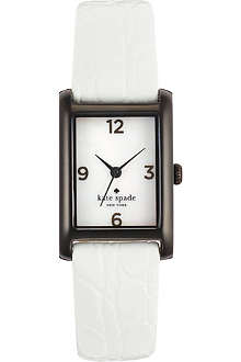 KATE SPADE Cooper black-plated metal and leather watch