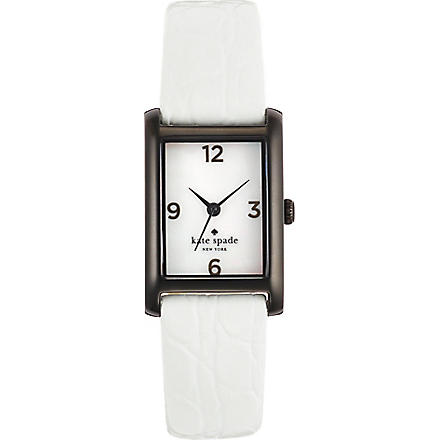 KATE SPADE Cooper black-plated metal and leather watch (White