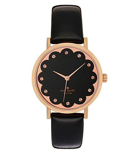 KATE SPADE 1YRU0583 Metro rose gold-plated and leather watch