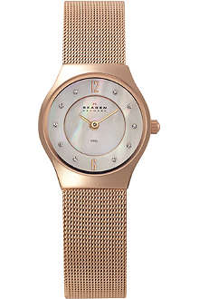 SKAGEN 233XSRR rose gold-plated and mesh watch