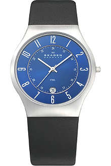 SKAGEN 233XXLSLN stainless steel and leather watch