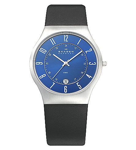 SKAGEN 233XXLSLN stainless steel and leather watch (Black
