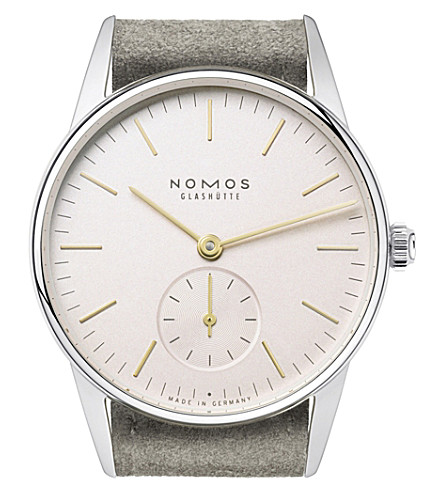 NOMOS GLASHUTTE Orion 33 Rosé stainless steel and leather watch