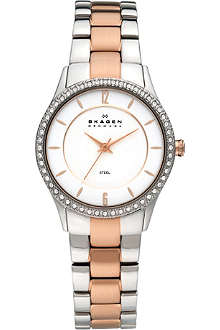 SKAGEN 347SSRX rose gold two-tone watch