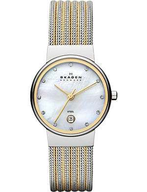 SKAGEN 355SSGS two-tone mesh bracelet watch