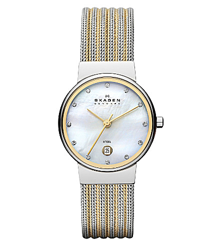SKAGEN 355SSGS two-tone mesh bracelet watch (White