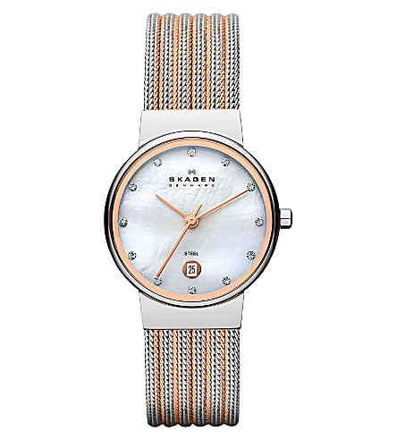SKAGEN 355SSRS two-tone mesh bracelet watch (White