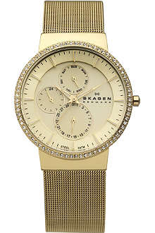 SKAGEN 357XLGG gold-plated chronograph watch