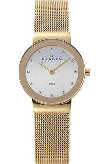 SKAGEN 358SGGD gold-toned stainless steel and mesh watch
