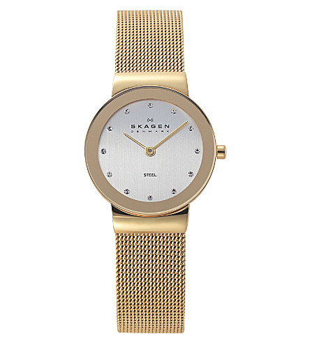 SKAGEN 358SGGD freya gold-toned stainless steel and mesh watch (Gold