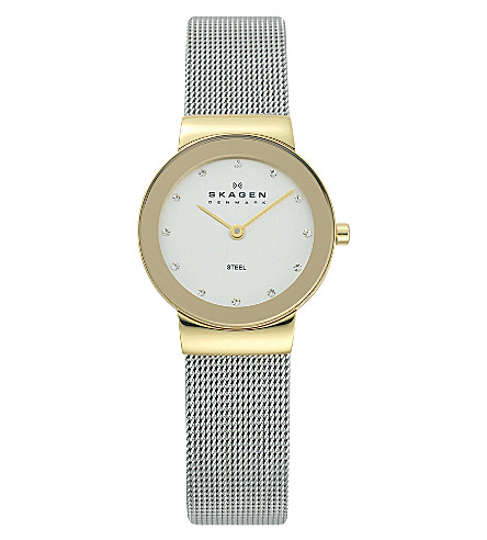 SKAGEN 358SGSCD stainless steel and mesh watch (Silver