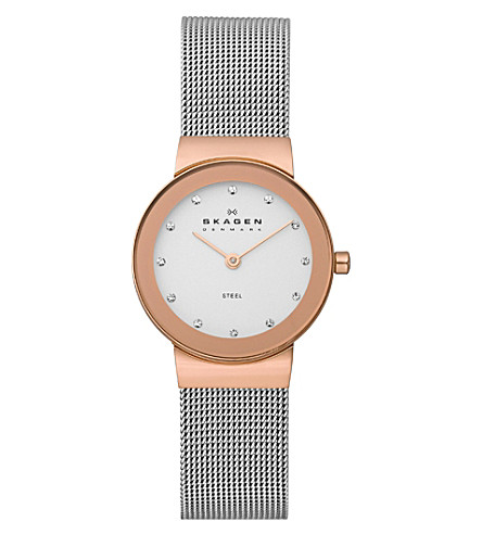 SKAGEN 358SRSC Klassik steel and gold-plated watch (White