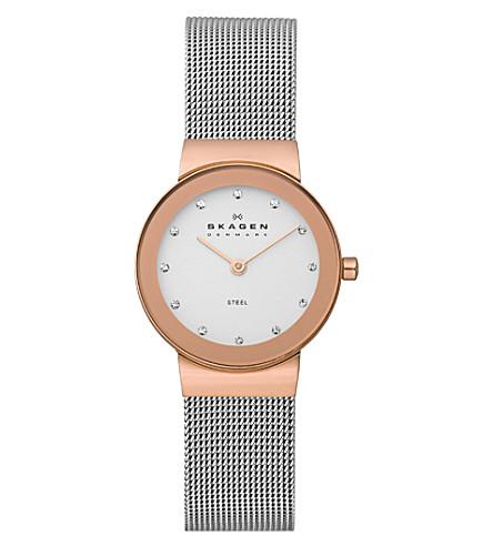 SKAGEN 358SRSC Klassik steel and gold-plated watch (White