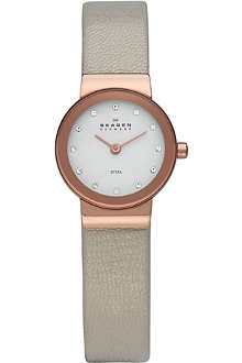 SKAGEN 358XSRLT rose gold and leather watch