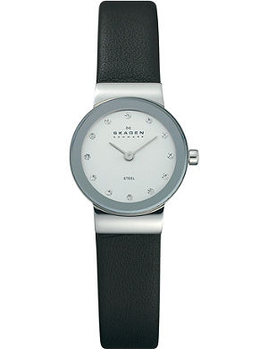 SKAGEN 358XSSLBC stainless steel and leather watch