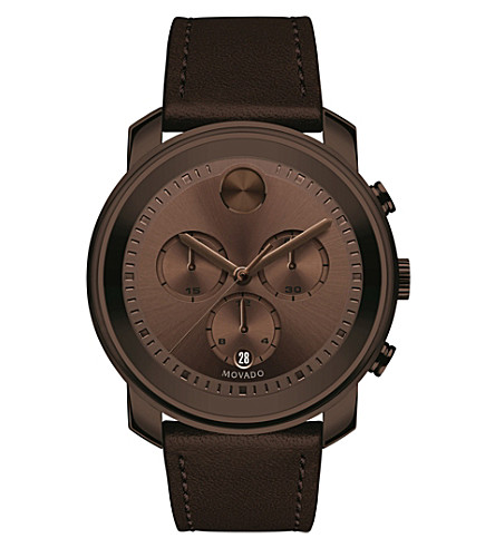 MOVADO 3600420 Bold brown ion-plated stainless steel and leather watch