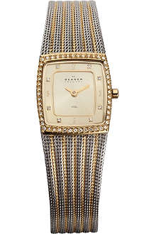 SKAGEN 384XSGSG two-tone mesh bracelet watch
