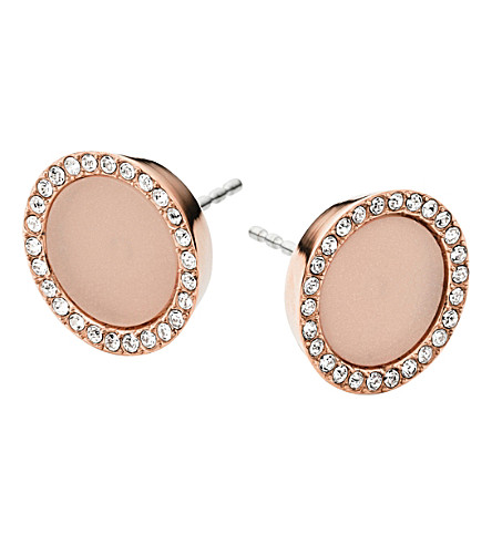 MICHAEL KORS Rose gold-plated crystal stud earrings