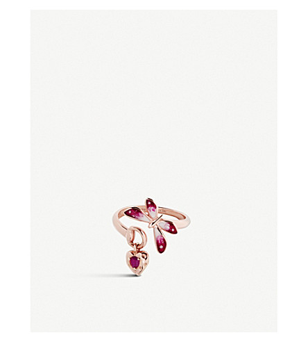 GUCCI Flora 18ct rose-gold and ruby ring