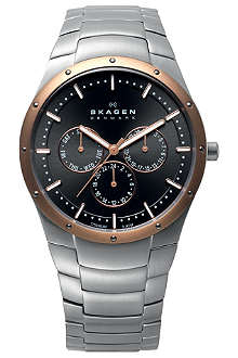 SKAGEN 596XLTRXM stainless steel chronograph watch