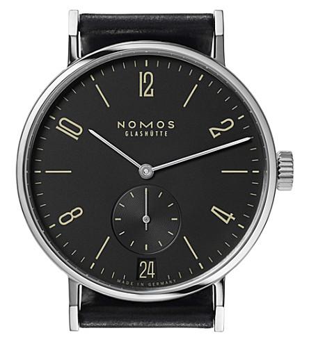 NOMOS GLASHUTTE Tangomat Ruthenium Datum automatic leather strap watch