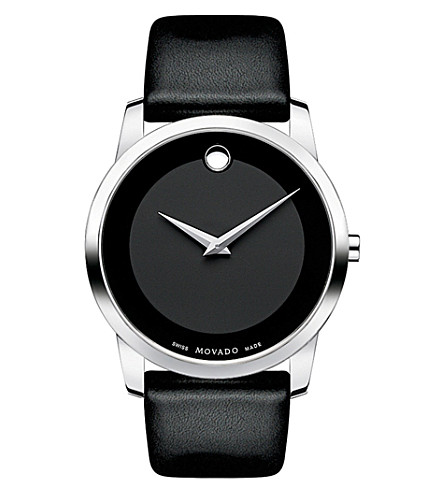 MOVADO 0606502 museum classic stainless steel and leather watch (Black