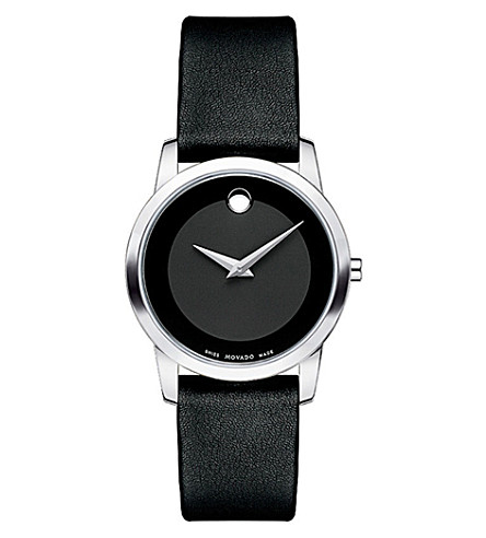 MOVADO 0606503 museum classic stainless steel and leather watch (Black