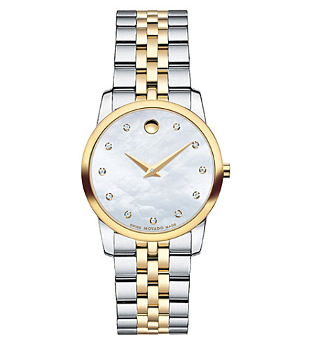 MOVADO 0606613 musuem classic mother-of-pearl and stainless steel watch (Mother-of-pearl