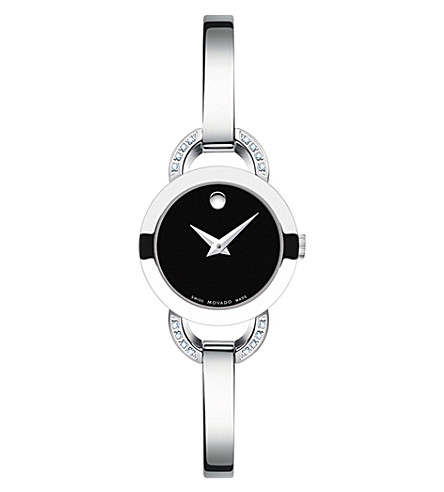 MOVADO 0606798 Rondiro crystal and stainless steel watch (Black