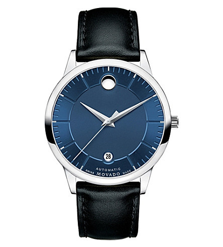 MOVADO 0606874 1881 Automatic stainless steel and leather watch (Blue