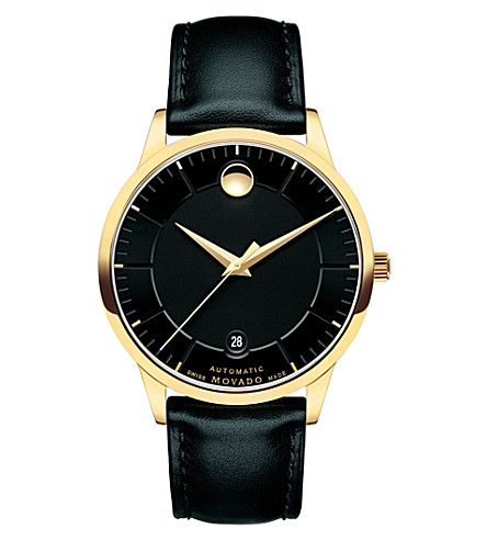 MOVADO 0606875 1881 Automatic gold-plated and leather watch (Black
