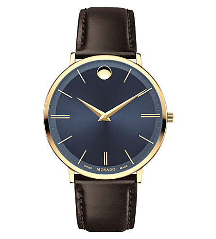 MOVADO 607088 Ultra Slim yellow-gold PVD stainless steel and leather watch