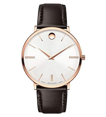 MOVADO 607089 Ultra Slim rose-gold PVD stainless steel and leather watch