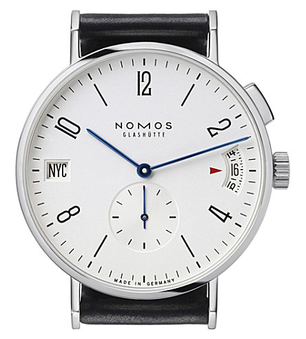 NOMOS GLASHUTTE Tangomat GMT stainless steel and leather watch