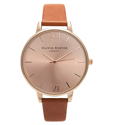 OLIVIA BURTON OB15BD70 Big dial rose gold-plated stainless steel and leather watch