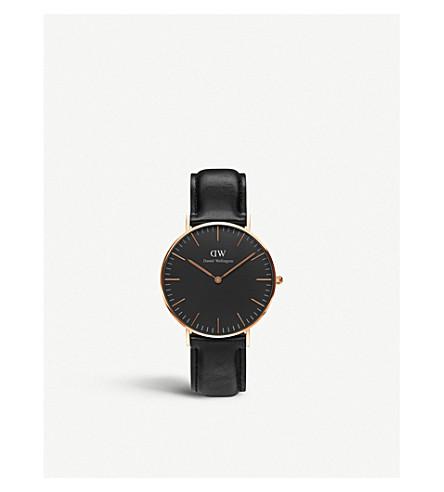 DANIEL WELLINGTON 经典黑色谢菲尔德皮革和不锈钢手表