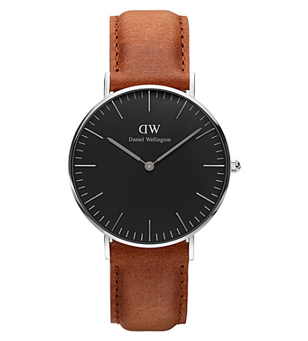 DANIEL WELLINGTON Classic Black Durham leather and stainless steel watch
