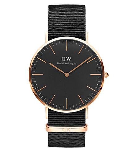 DANIEL WELLINGTON Classic Black Cornwall NATO-strap stainless steel watch
