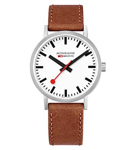 MONDAINE A660-30360-16SBT SBB 经典皮革和不锈钢腕表