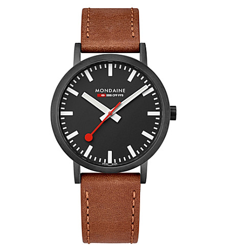 A660-30360-64SBG SBB Classic leather and IP black stainless steel watch