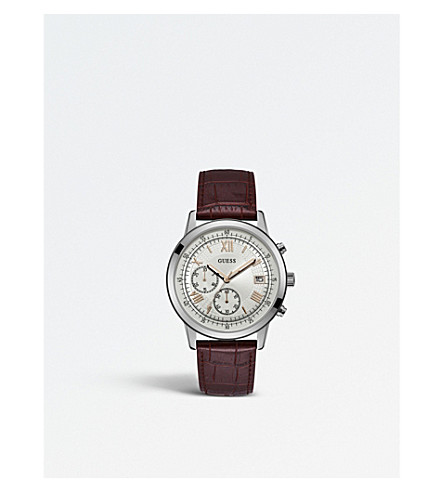 GUESS W1000G2 Iconic stainless steel and leather chronograph watch